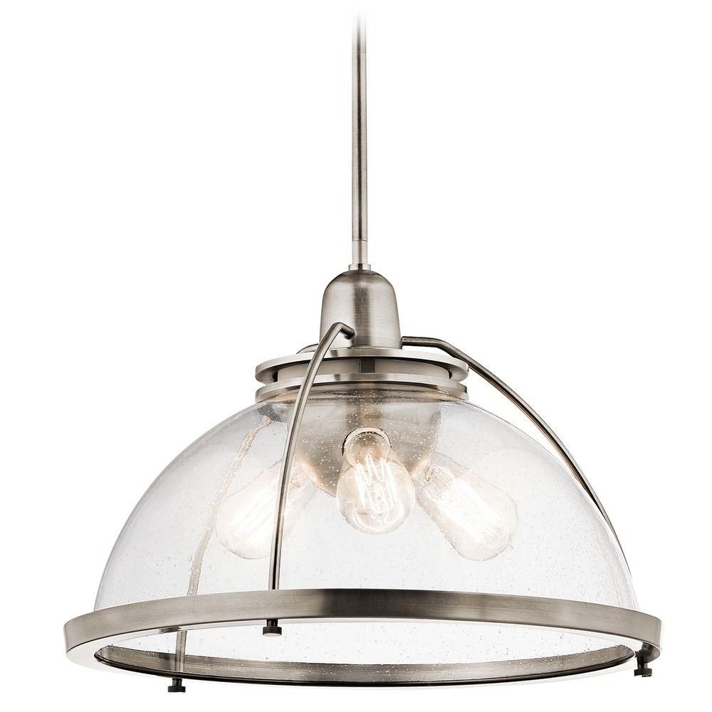 Kichler Lighting Silberne Classic Pewter Pendant Light With Bowl Dome Shade