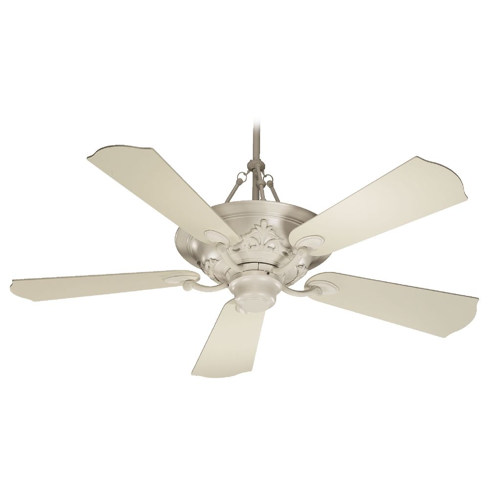 Quorum lighting salon antique white ceiling fan with light 83565 67 destination lighting - Victorian ceiling fans with lights ...