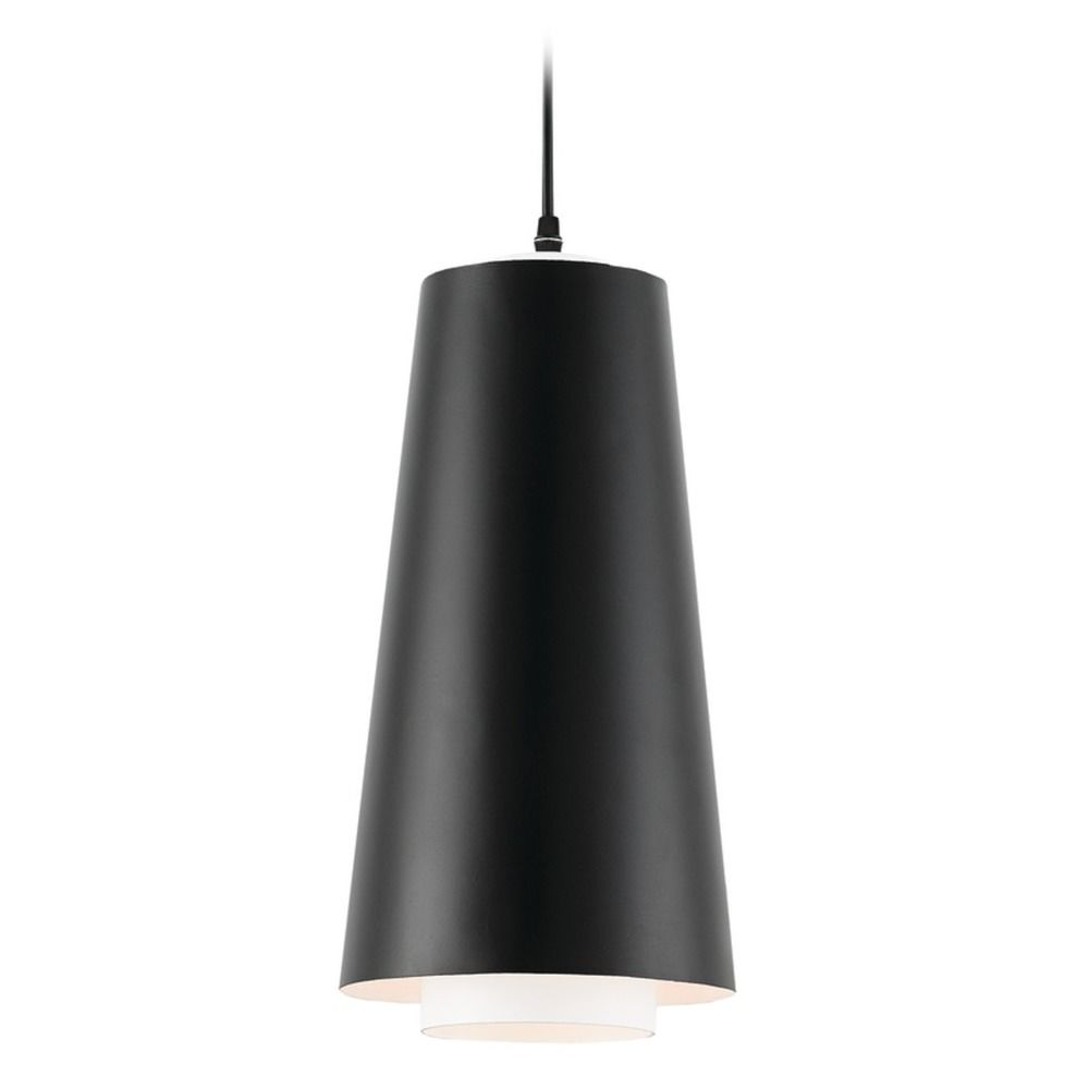 Currey And Company Bunny Williams Satin Black White Pendant Light With Conical Shade At Destination Lighting