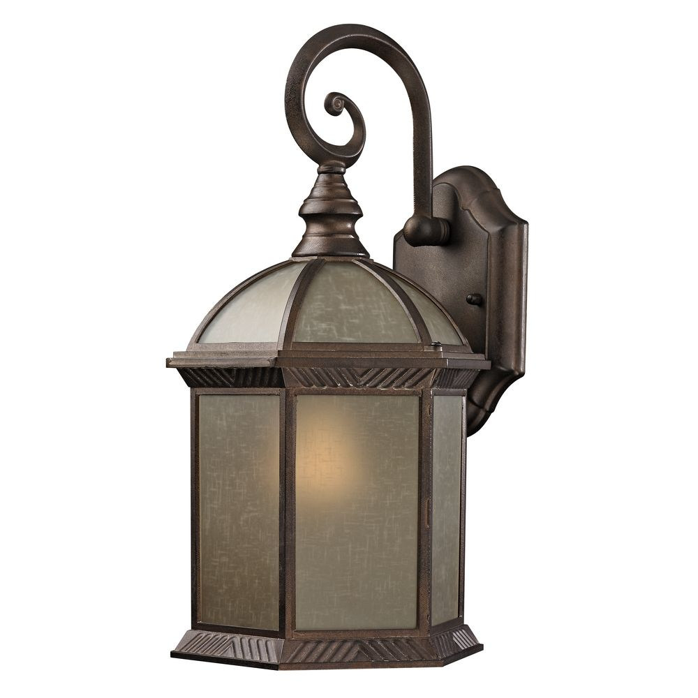 Traditional Bronze Wall Lights : Traditional Bronze Hexagon Outdoor Wall Light with Amber Glass 5271 AT Destination Lighting