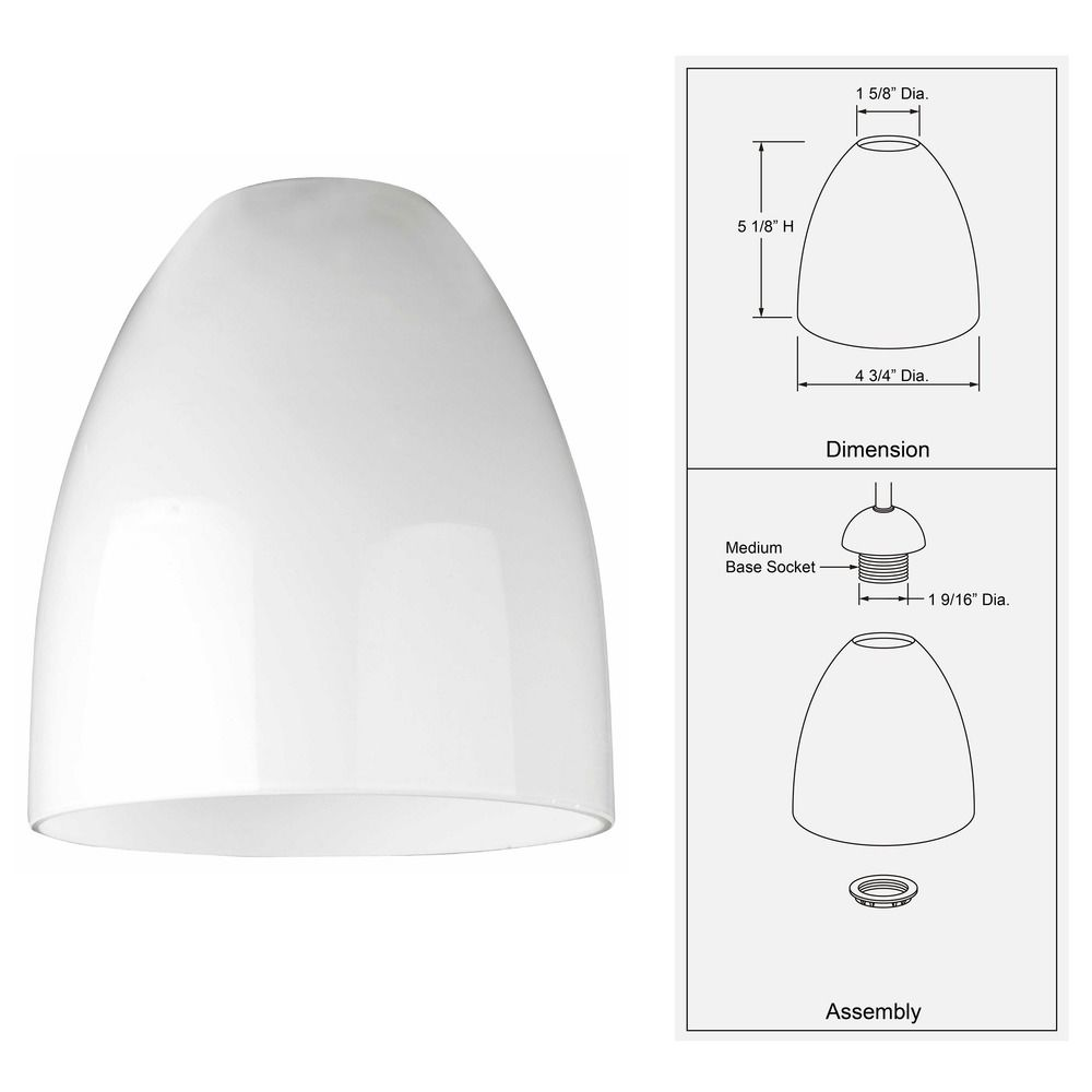 opal white bell glass shade lipless with 158inch fitter opening dim