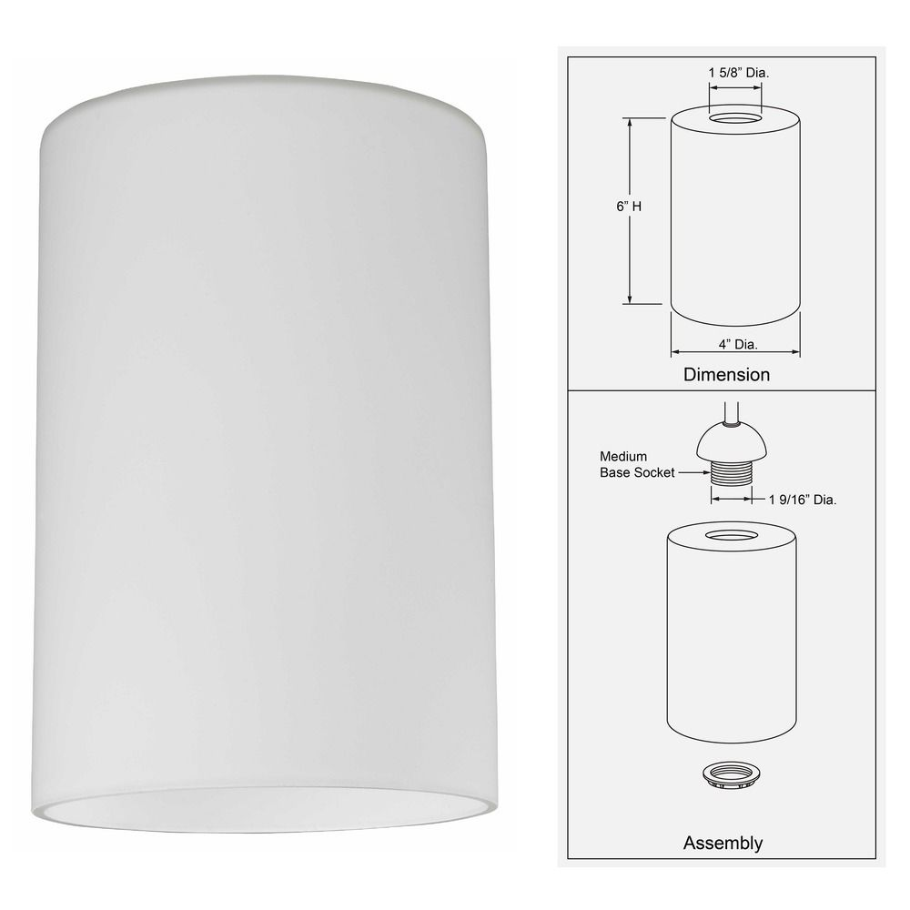 Satin White Cylinder Gl Shade Lipless With 1 5 8 Inch Er Dim