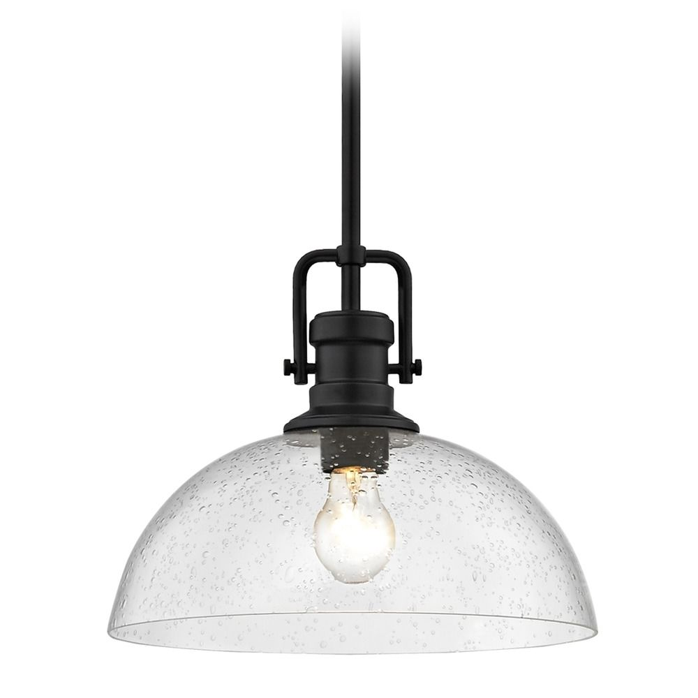 Seeded Gl Black Pendant Light 13 Inch Wide At Destination Lighting