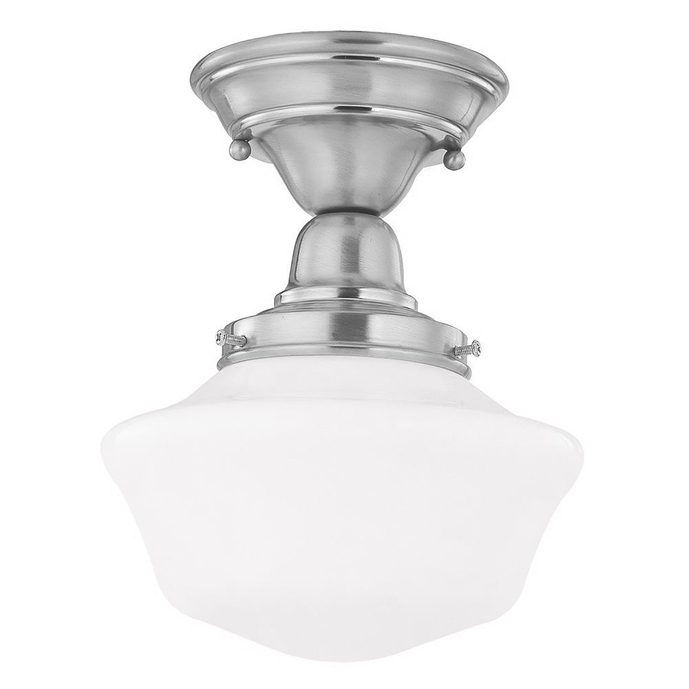 8 inch schoolhouse semi flushmount ceiling light with opal. Black Bedroom Furniture Sets. Home Design Ideas