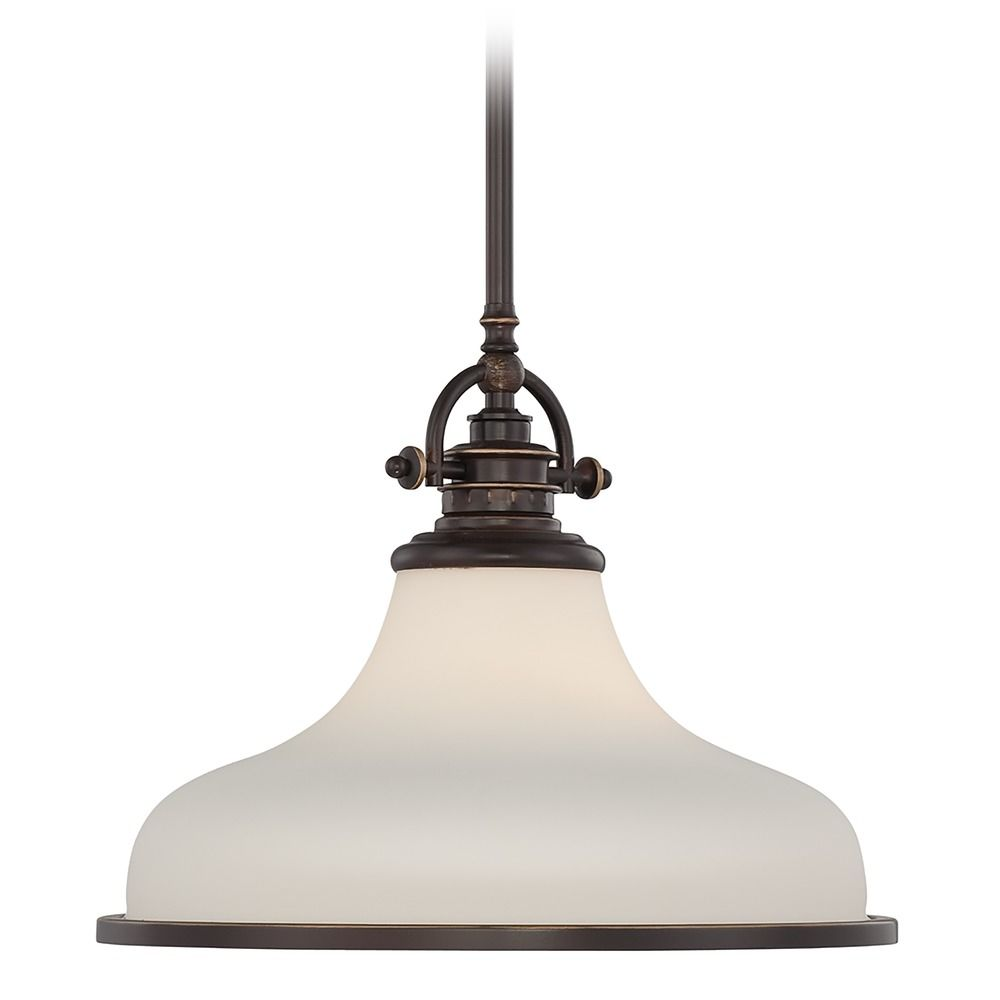 Modern Pendant Light With White Glass In Palladian Bronze
