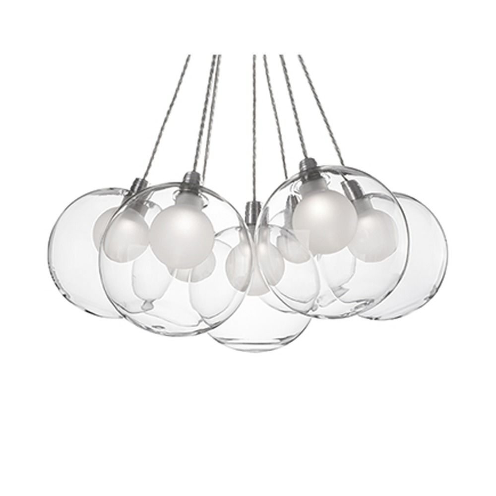 Kuzco lighting cluster pendant light chrome with clear glass 7 light kuzco lighting ch3117