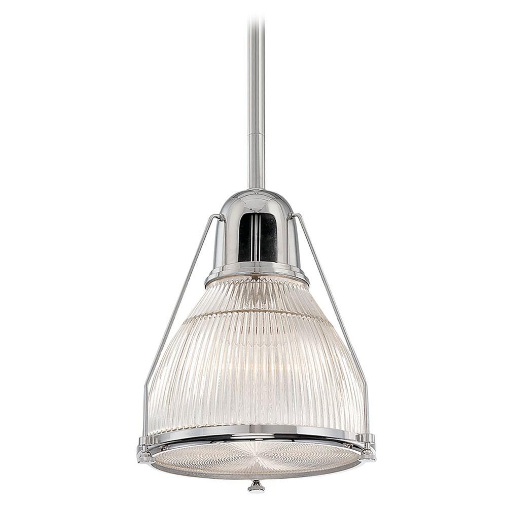 prismatic glass pendant light polished nickel hudson valley lighting