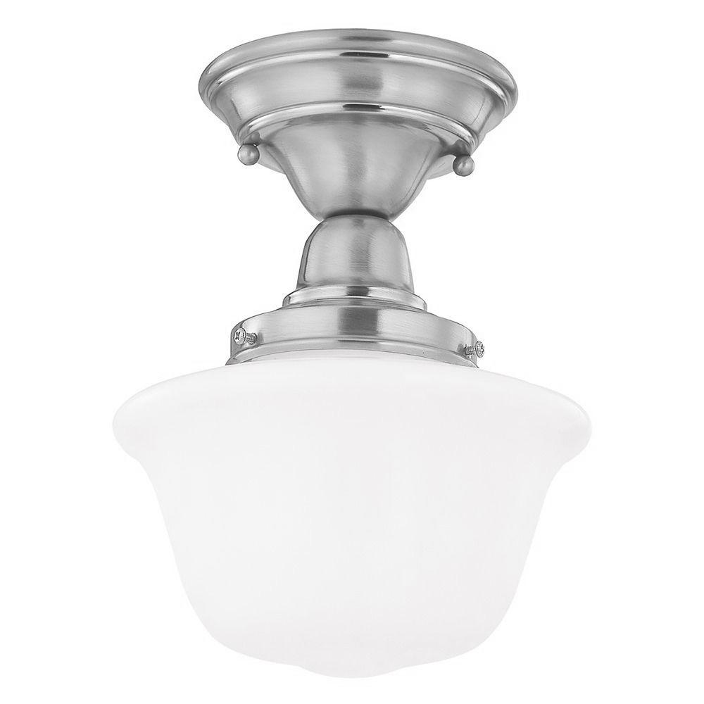 8 inch schoolhouse semi flushmount ceiling light in satin. Black Bedroom Furniture Sets. Home Design Ideas