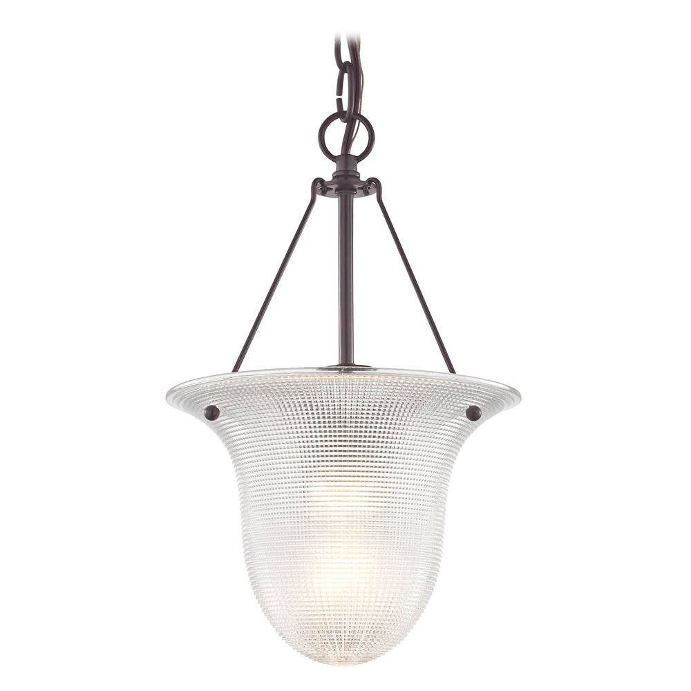 Industrial foyer pendant light with prismatic glass in bronze finish at destination lighting