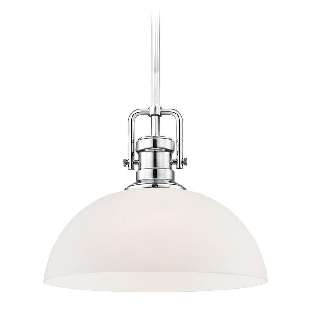 Industrial Chrome Pendant Light With White Glass 13 Inch Wide 1763