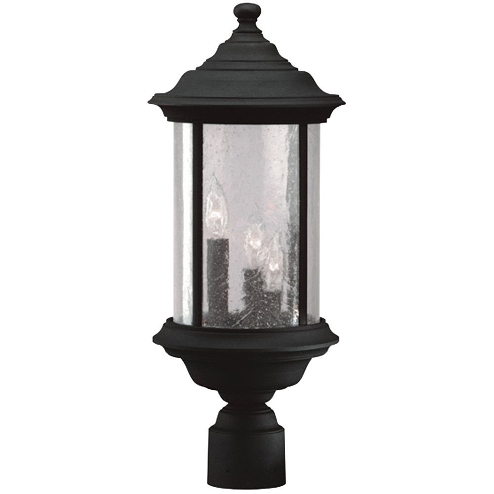 Outdoor Post Light Replacement Glass: Seeded Glass Outdoor Post Light Black 20-1/2-Inch Dolan