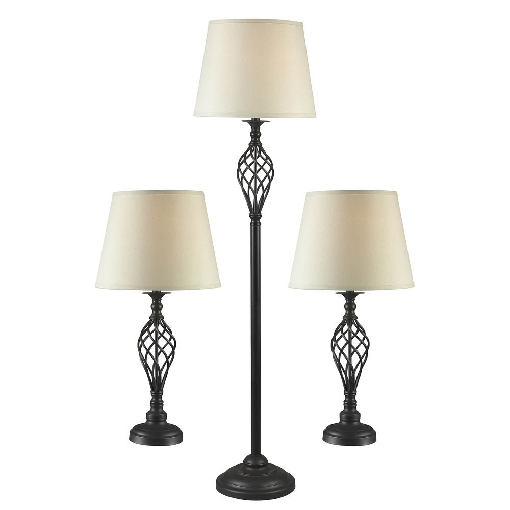 Table and floor lamp set in oil rubbed bronze finish for Floor lamp with table