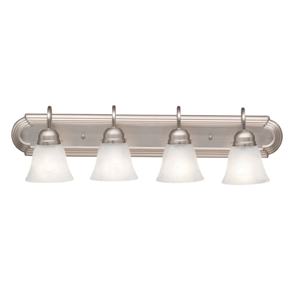 Kichler bathroom light in brushed nickel finish 5338ni for Brushed nickel lighting for bathroom