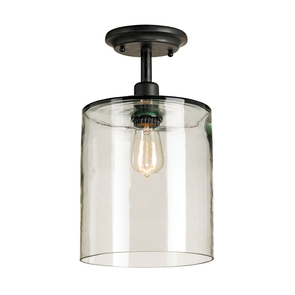 Vintage Style Ceiling Light With Hand Blown Recycled Glass