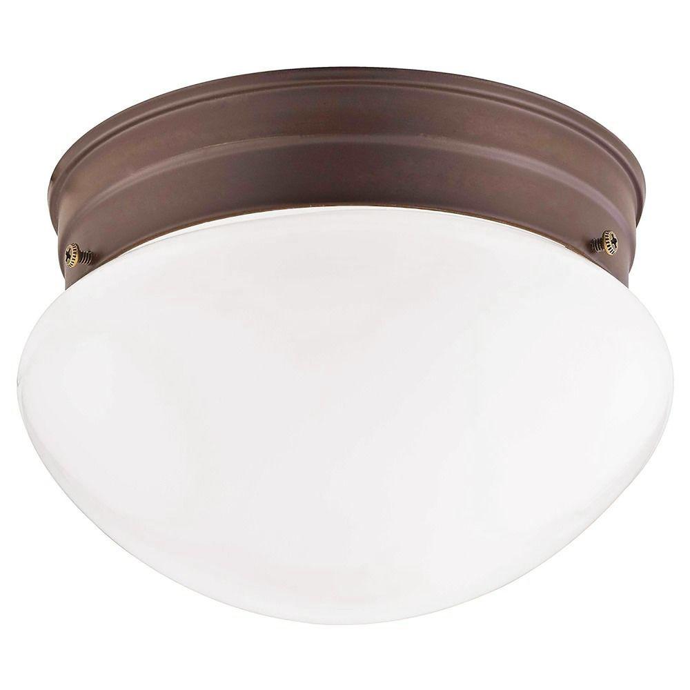 7 5 Inch Bronze Flushmount Ceiling Light With Opal Glass 29612 Destination Lighting