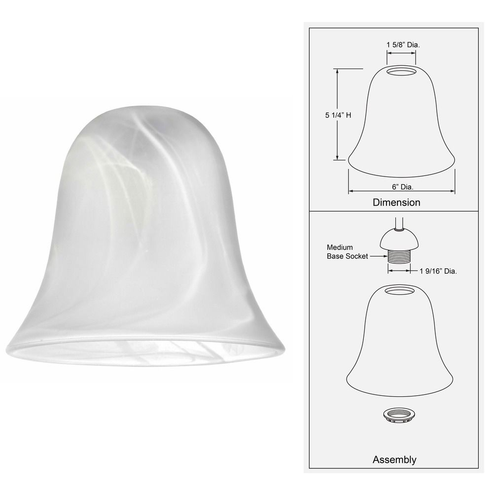 Alabaster Bell Glass Shade Lipless With 1 58 Inch