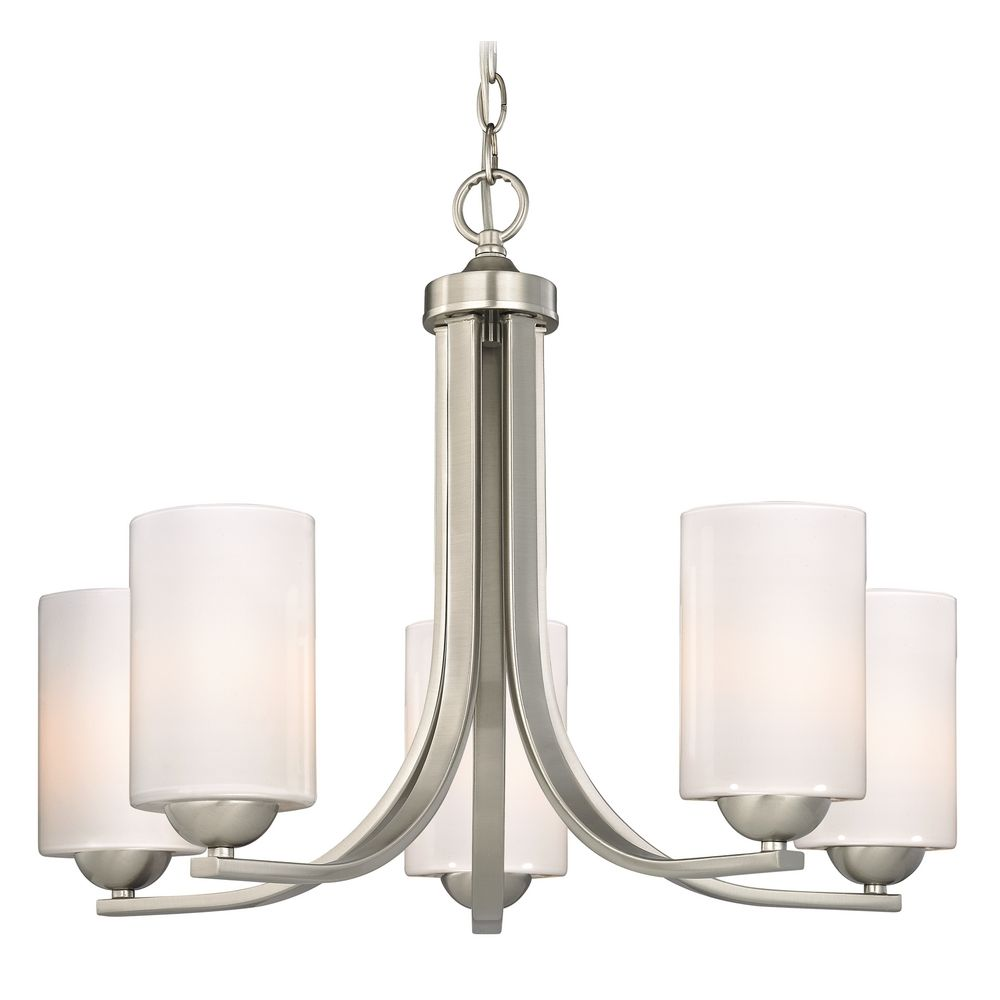 Hgtv Home Cassandra Blown Glass Mini Pendant Modern: Contemporary Chandelier With Opal White Cylinder Glass
