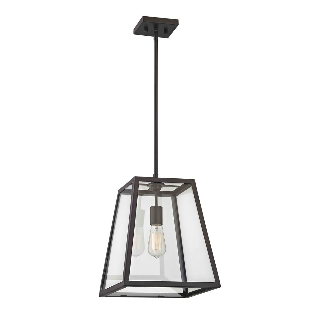 Country Bronze Mini Pendant Light With Square Shade 1168