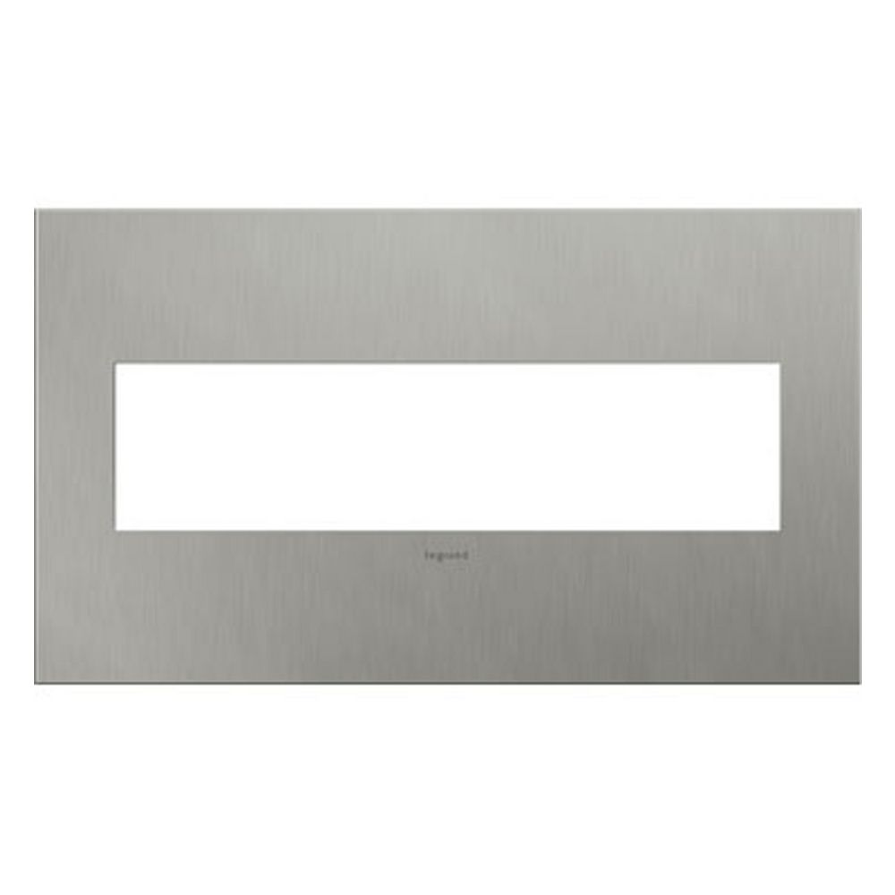 4 Switch Plate Legrand Adorne Brushed Stainless Steel 4Gang Switch Plate