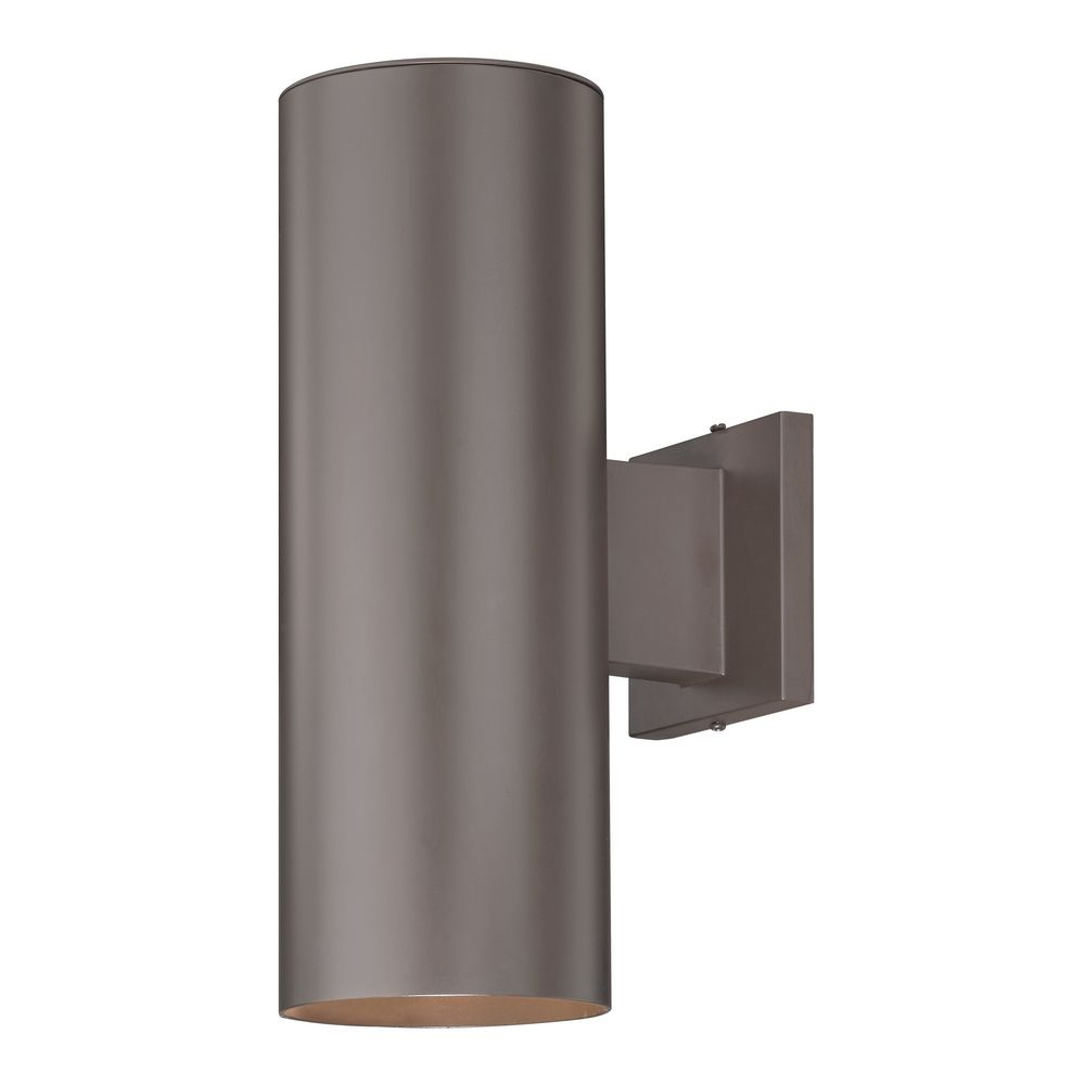 Up down bronze cylinder outdoor wall light ebay for Exterior up down wall light