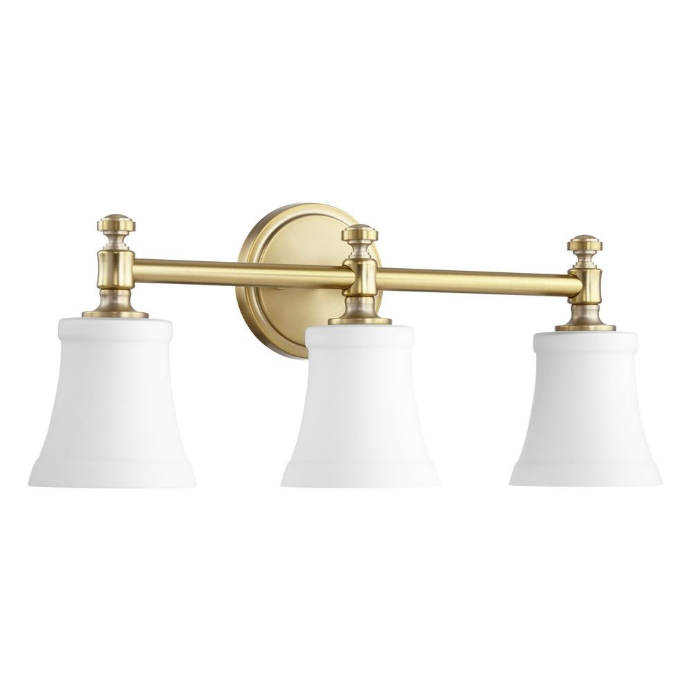brass bathroom lights quorum lighting aged brass bathroom light 5122 3 80 12156