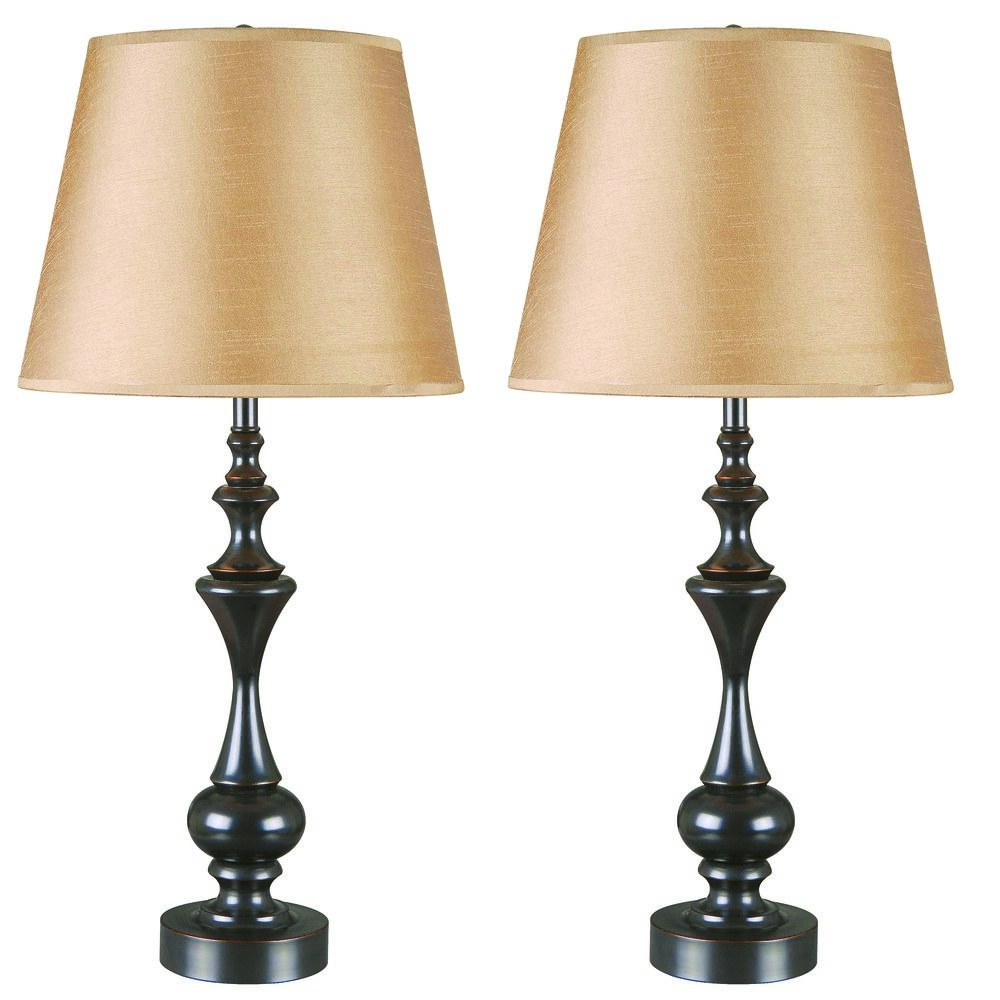 table lamp set with taupe shade in oil rubbed bronze. Black Bedroom Furniture Sets. Home Design Ideas