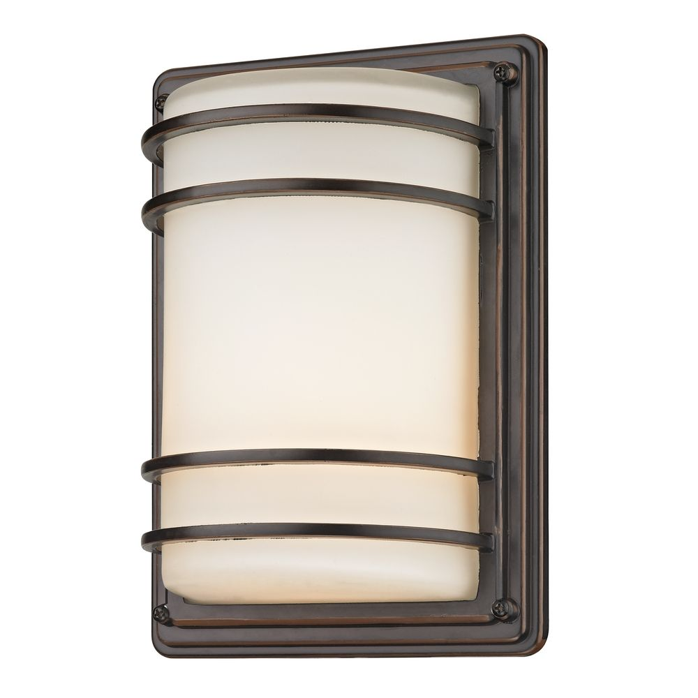 Wall Lights Frosted Glass : Bronze Outdoor Wall Light with Frosted White Glass 3368 RBZ Destination Lighting
