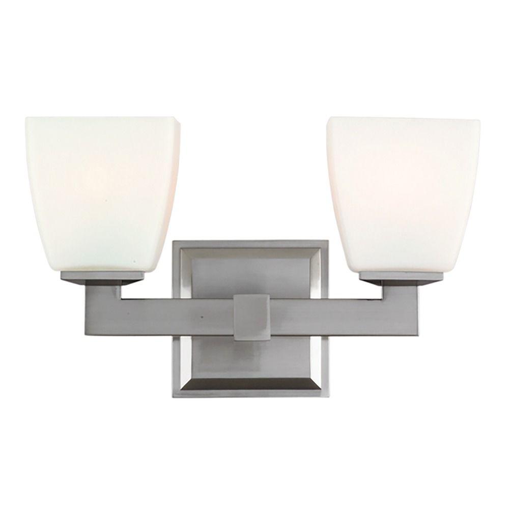 Modern Bathroom Light with White Glass in Satin Nickel Finish   6202 ...