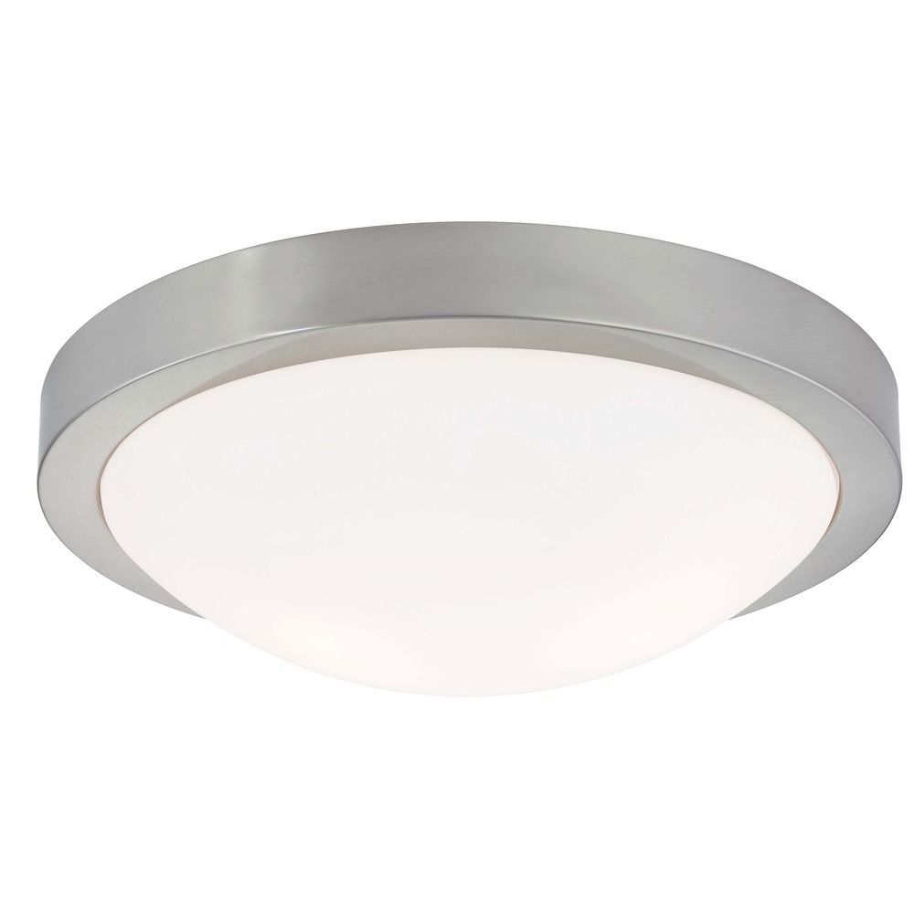 Modern Flush Ceiling Light Satin Nickel Inch Wide - Brushed nickel bathroom ceiling light fixtures
