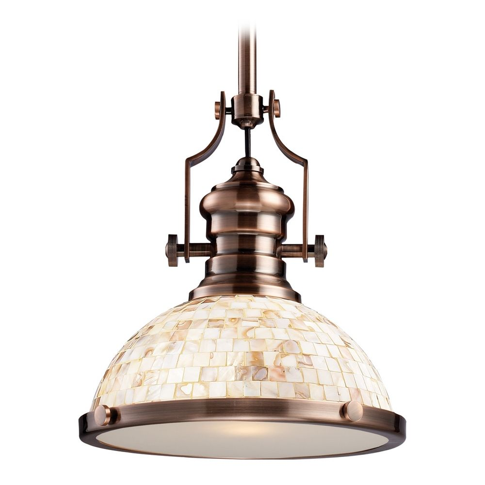 Elk Lighting Chadwick Antique Copper: Industrial Copper Pendant Light With Mosaic Dome Shade