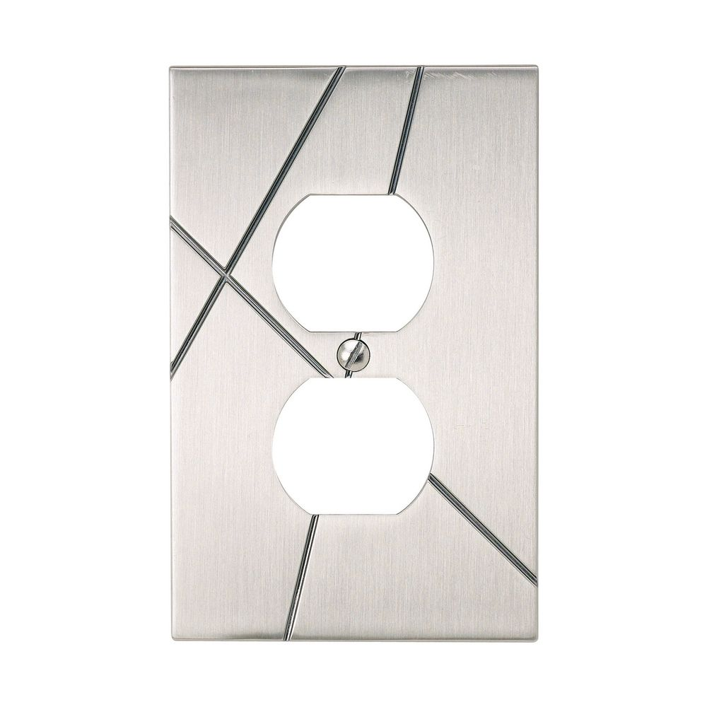 modern switch plate covers wall plate in brushed nickel. Black Bedroom Furniture Sets. Home Design Ideas