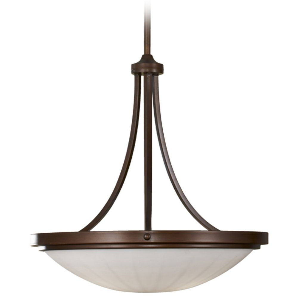 Modern pendant light with white glass in heritage bronze for Modern white pendant lighting