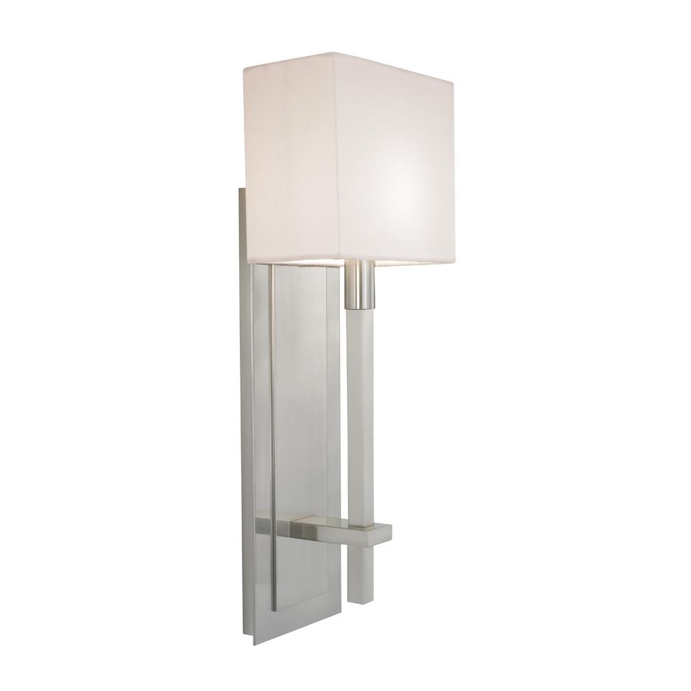 wall sconces  destination lighting - modern sconce wall light with white shade in satin nickel finish