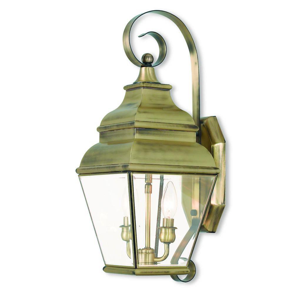 Livex Lighting Exeter Antique Brass Outdoor Wall Light