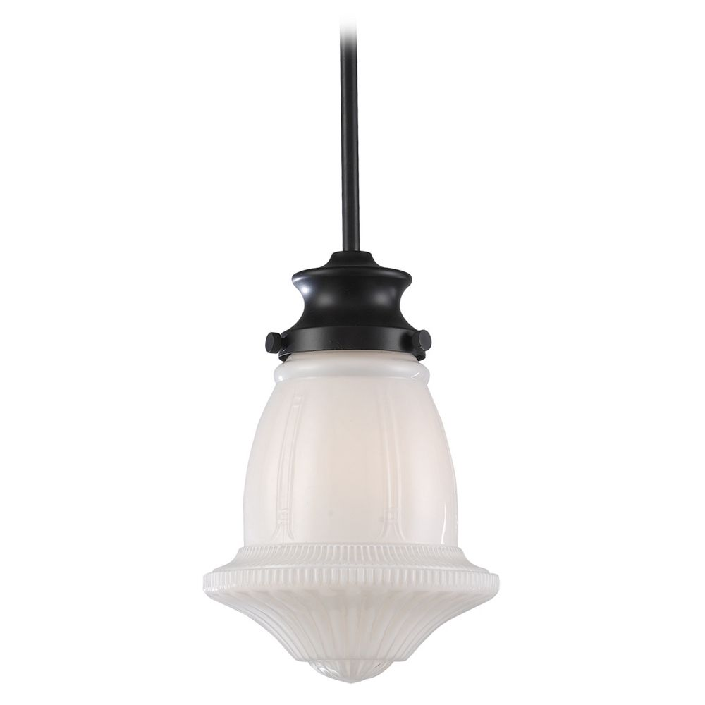 Schoolhouse Mini Pendant Light With White Glass 69039 1