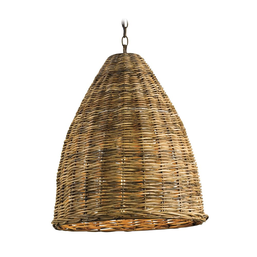 Pendant Light with Brown Wicker Shade in Natural Finish ...