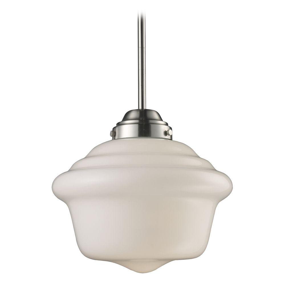 Elk Lighting Schoolhouse Pendant: Schoolhouse Pendant Light With White Glass In Satin Nickel