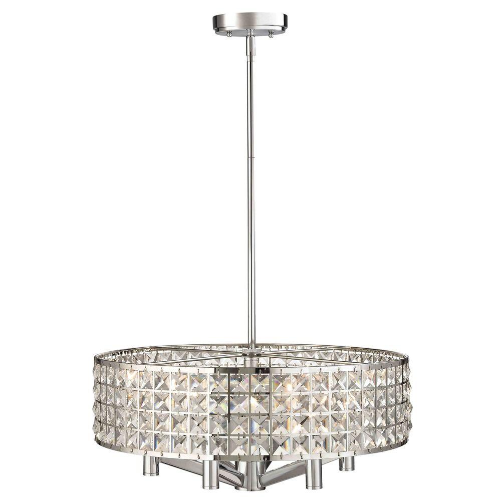 6 light pendant light with drum shade 2273 26