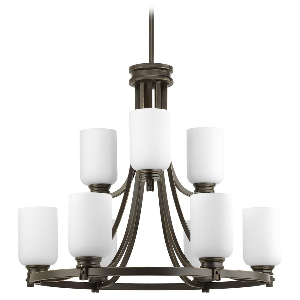 Progress Chandelier With White Glass In Antique Bronze