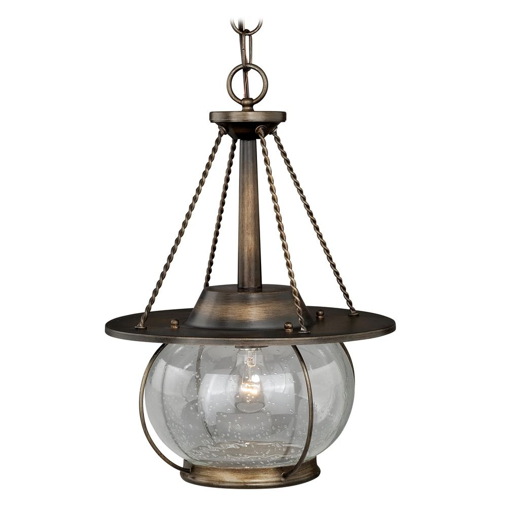 Seeded Glass Pendant Light Bronze Vaxcel Lighting P0137