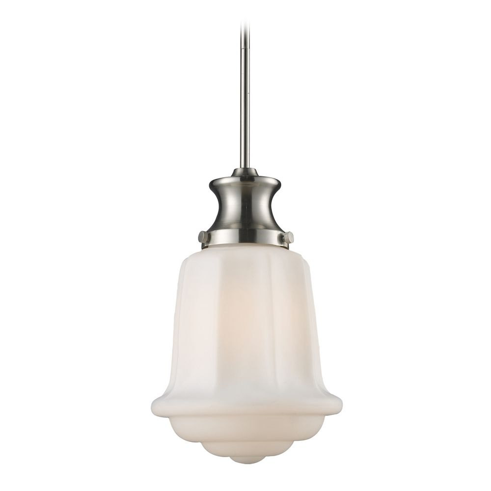 Schoolhouse Mini Pendant Light With White Glass