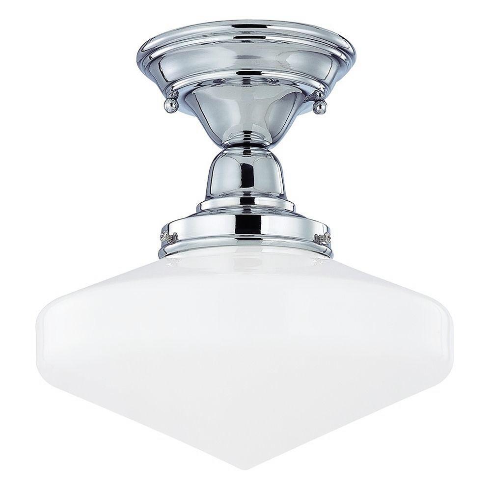 10 inch schoolhouse semi flushmount ceiling light in. Black Bedroom Furniture Sets. Home Design Ideas