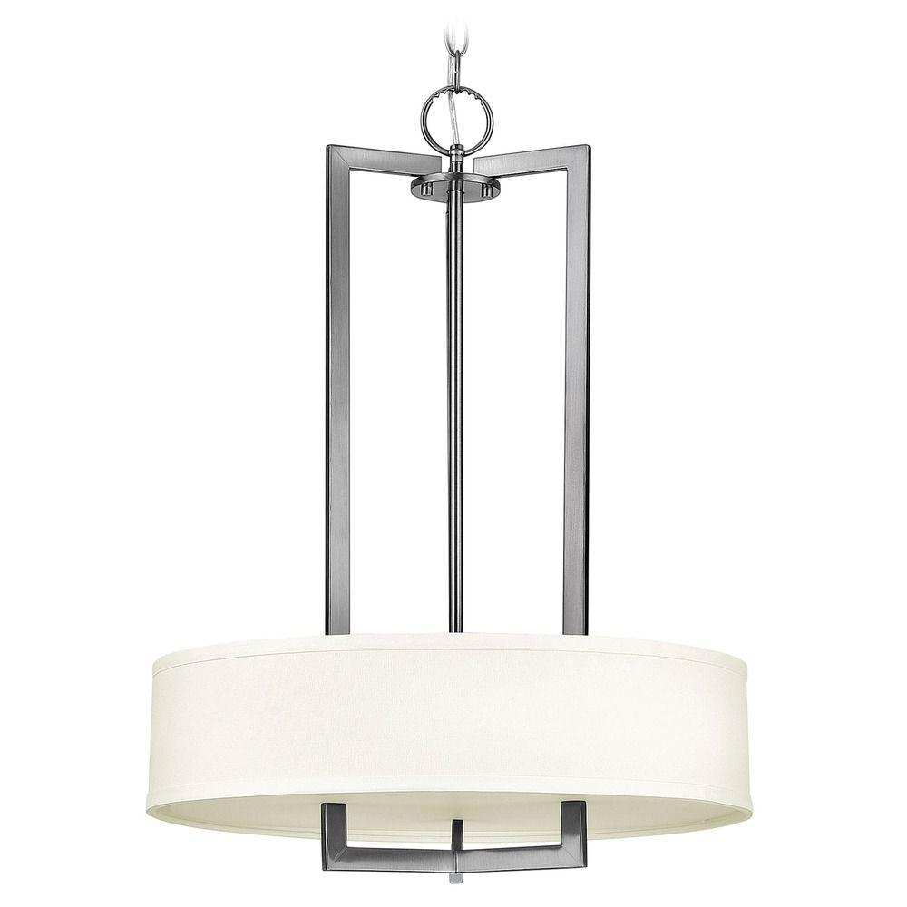 Hinkley Drum Lighting: Hinkley Lighting Hampton Antique Nickel Pendant Light With