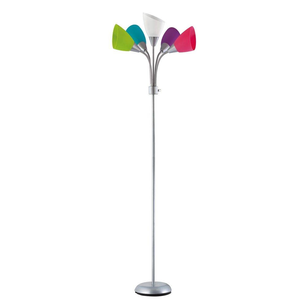 Contemporary Floor Lamp With Five Multi Colored Adjustable