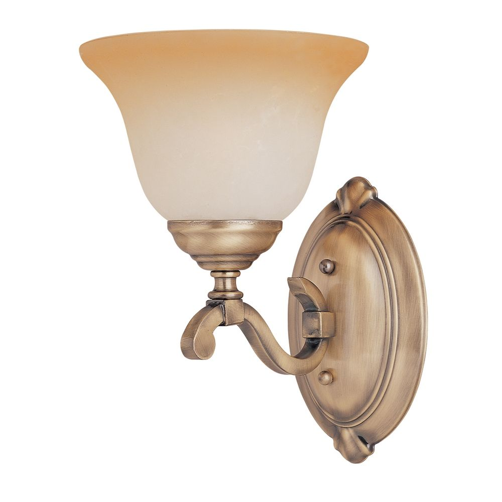 Gold Glass Wall Lights : Sconce Wall Light with Beige / Cream Glass in Light Gold Finish 11677LTLG Destination Lighting