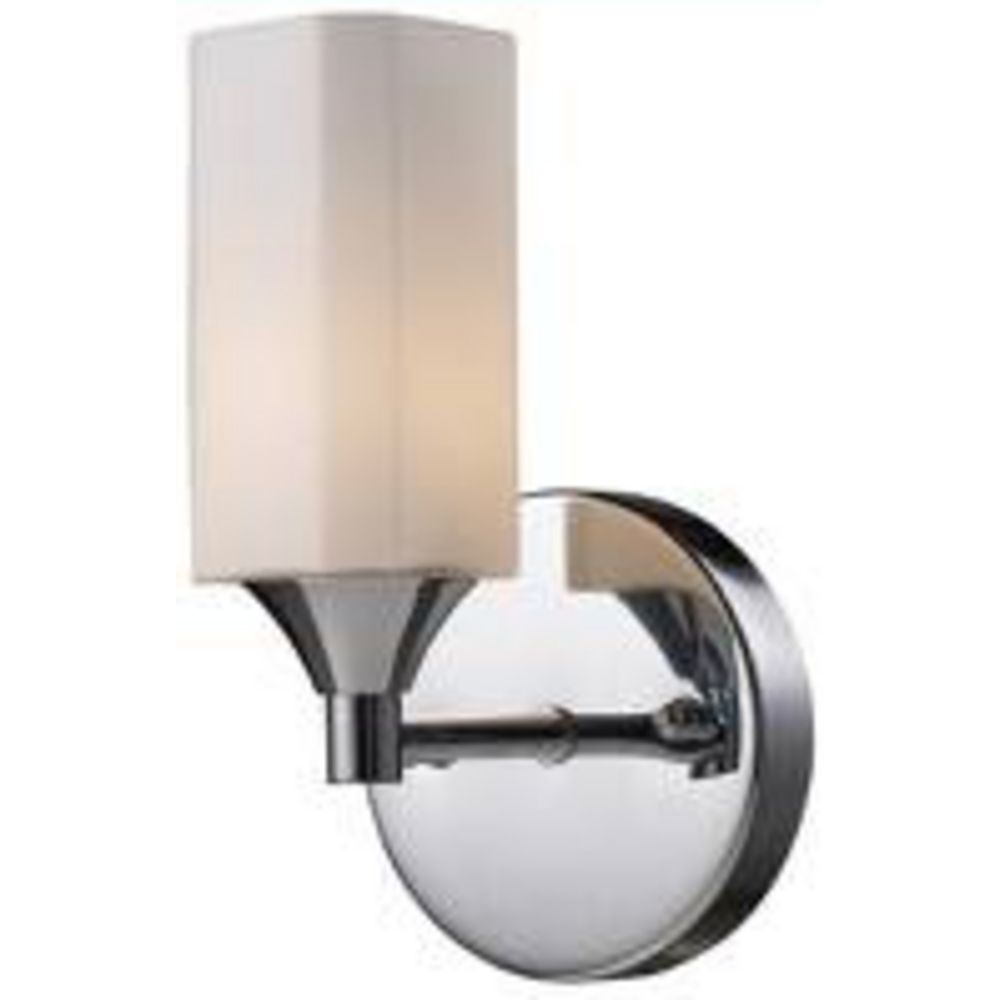 Wall Sconce Chrome Finish : Modern Sconce Wall Light with White Glass in Polished Chrome Finish 71010-1 Destination Lighting