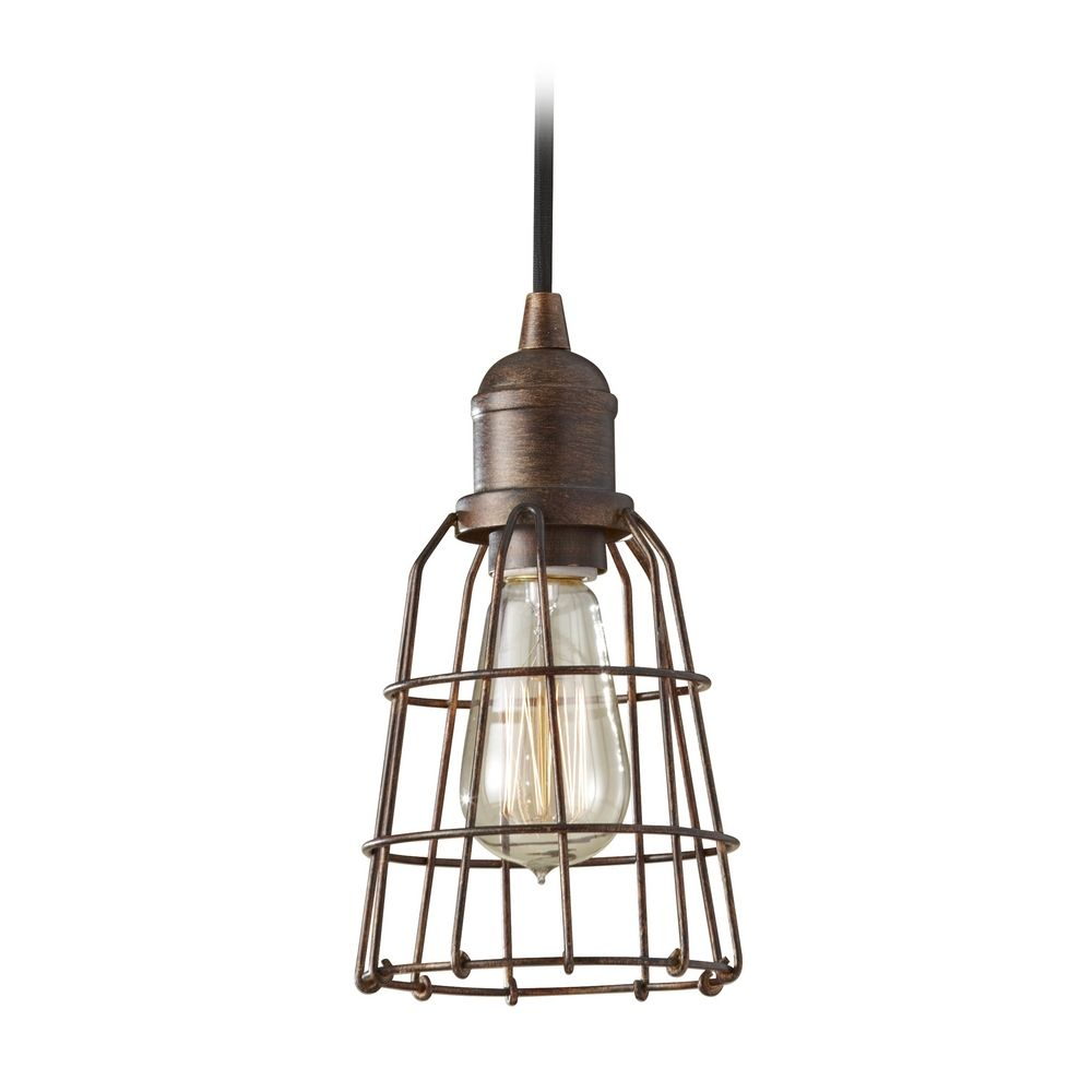 Industrial Vintage Mini Pendant Light With Cage Shade P1246prz Room Ceiling Retro On Wiring Led Lights Feiss Lighting