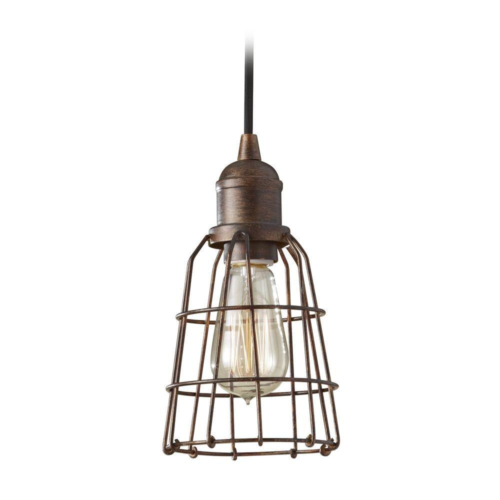 industrial vintage mini pendant light with cage shade p1246prz destination lighting. Black Bedroom Furniture Sets. Home Design Ideas