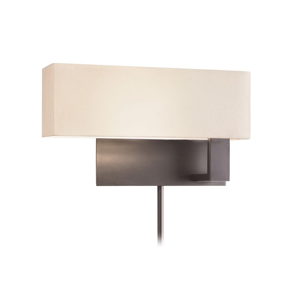 Brass Wall Sconce With Black Shade : Modern Sconce Wall Light with White Shade in Black Brass Finish 7027.51F Destination Lighting