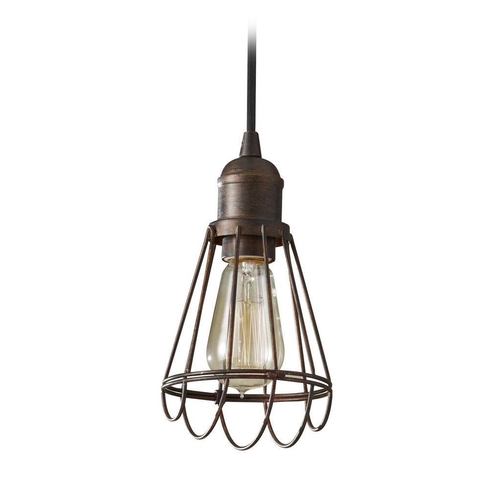 Bronze Mini Pendant Light With Vintage Style Cage Shade